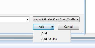 AddAsLink in Visual Studio